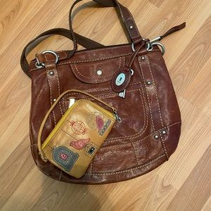 Fossil brand leather purse and wallet